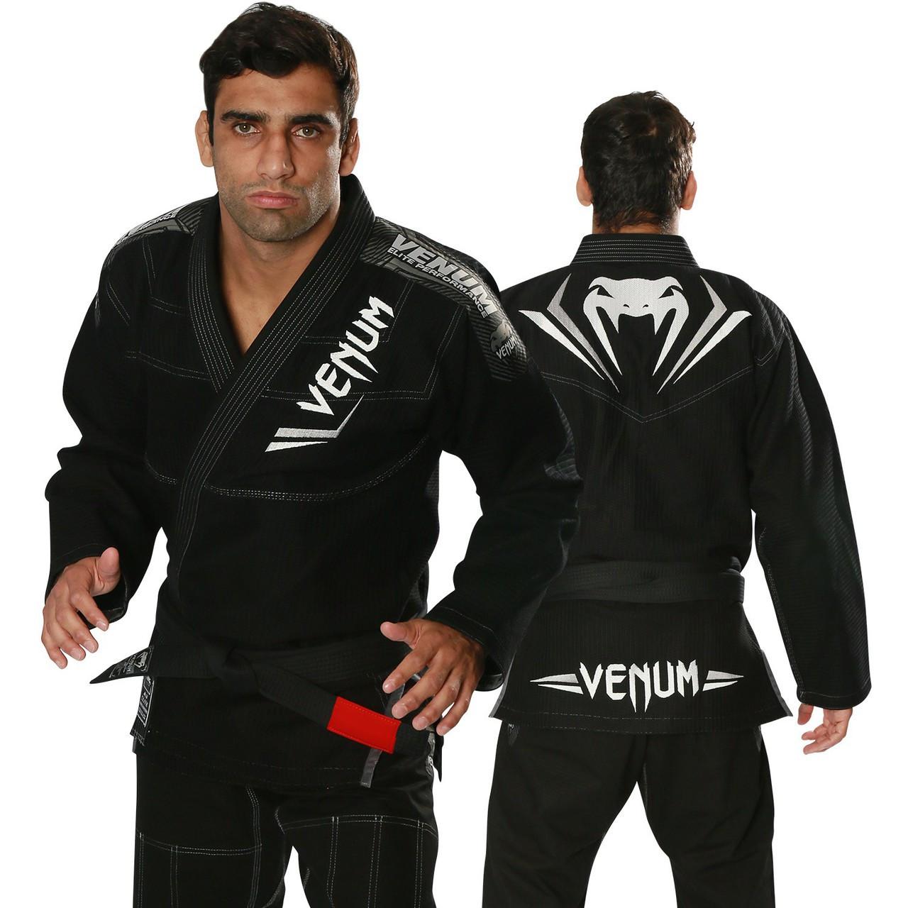 venum elite bjj gi black silver the jiu jitsu shop