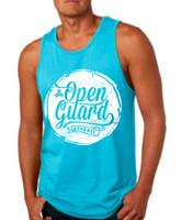 OGA Circle Flow Tank available in Tahiti blue and White at www.thejiujitsushop.com or www.openguardapparel.com