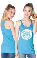 OGA Circle Flow Tank available for girls in tahiti blue and white at www.thejiujitsushop.com or www.openguardapparel.com