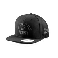 Newaza Apparel Trust Hat (Metallic Black on Black Hat) In Jiu JItsu We trust hat available at www.thejiujitsushop.com  Free Shipping today!