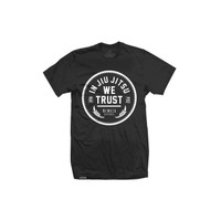Newaza Apparel In Jiu Jitsu We trust black shirt white writting.  Available at www.thejiujitsushop.com today!  Free Shipping on all products in our shop!