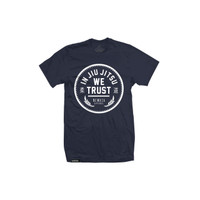 Newaza Apparel In Jiu Jitsu We trust Navy shirt white writting.  Available at www.thejiujitsushop.com today!  Free Shipping on all products in our shop!
