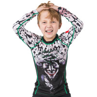 Going crazy Fusion FG Batman The Killing Joke Kids BJJ Rashguard is available at www.thejiujitsushop.com  Officially licensed Batman Gear.   Enjoy Free Shipping from The Jiu Jitsu Shop today!