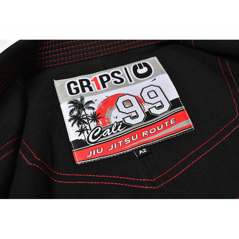 Label of the Grips athletics Cali 99 Gi black gi.  Available at www.thejiujitsushop.com  Enjoy free shipping from The Jiu Jitsu Shop today!