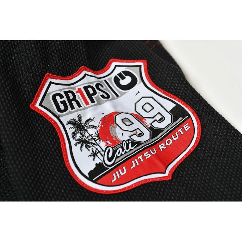 Shoulder patch of the Grips athletics Cali 99 Gi black gi.  Available at www.thejiujitsushop.com  Enjoy free shipping from The Jiu Jitsu Shop today!