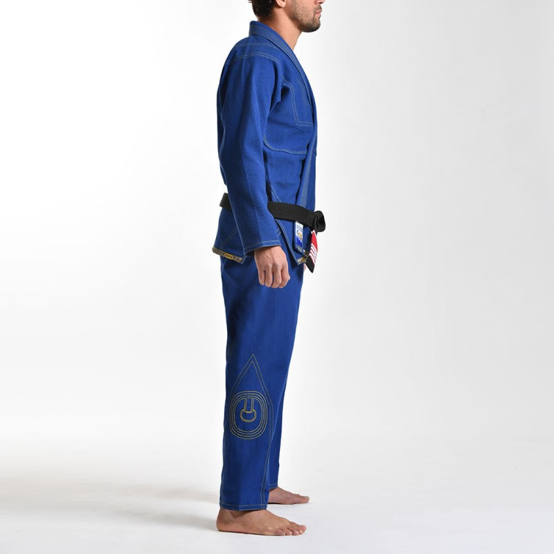 left side view of the Grips athletics Cali 99 Gi Blue gi.  Available at www.thejiujitsushop.com  Enjoy free shipping from The Jiu Jitsu Shop today!
