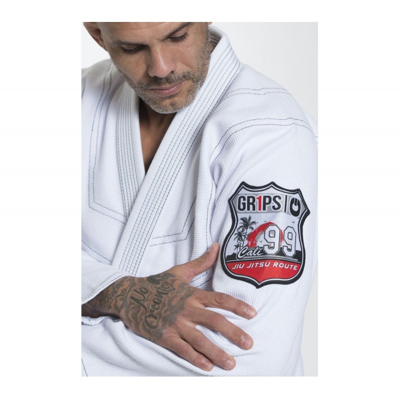 patch of the Grips athletics Cali 99 Gi White gi.  Available at www.thejiujitsushop.com  Enjoy free shipping from The Jiu Jitsu Shop today!