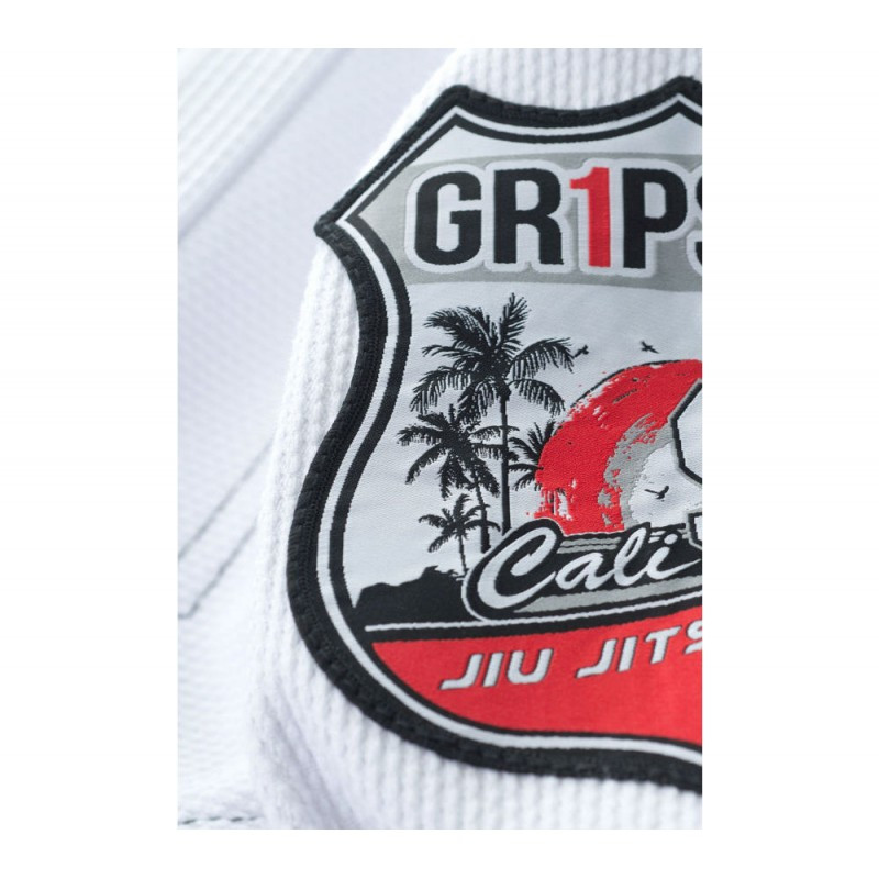Patch embroidery Grips athletics Cali 99 Gi White gi.  Available at www.thejiujitsushop.com  Enjoy free shipping from The Jiu Jitsu Shop today!