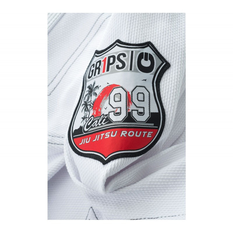 cali 99 gi side patch Grips athletics Cali 99 Gi White gi.  Available at www.thejiujitsushop.com  Enjoy free shipping from The Jiu Jitsu Shop today!