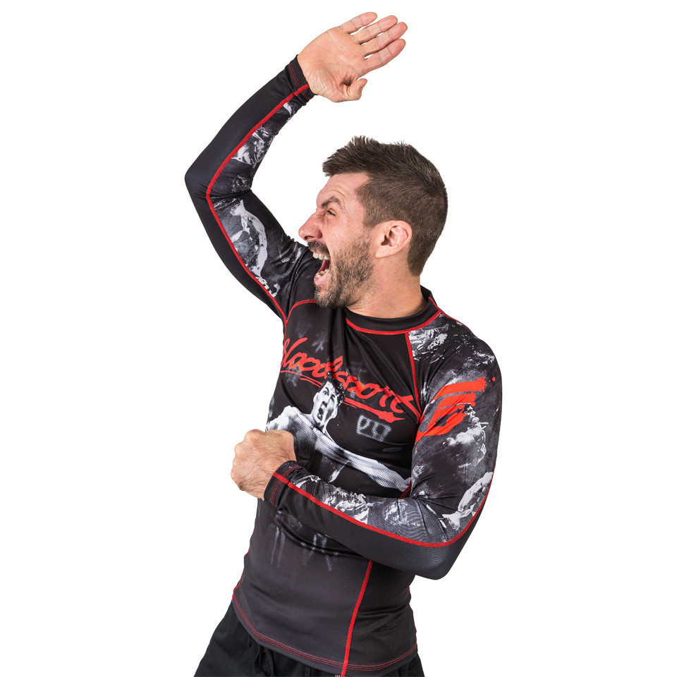 Karate chop with model and the officially licensed bloodsport Rashguard