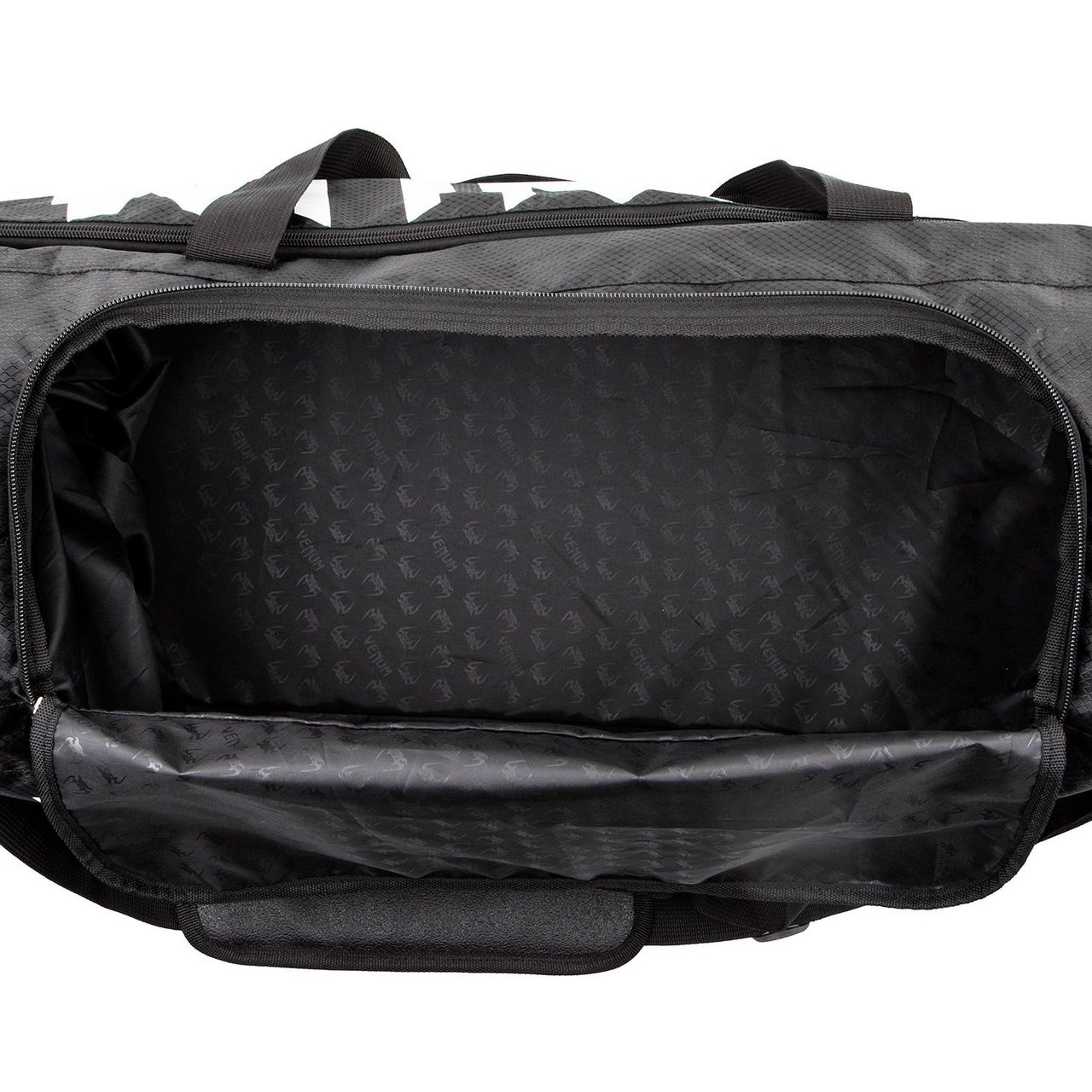 inside Venum Sparring Sports Bag  in Black on White available at www.thejiujitsushop.com  Enjoy Free Shipping from The Jiu Jitsu Shop
