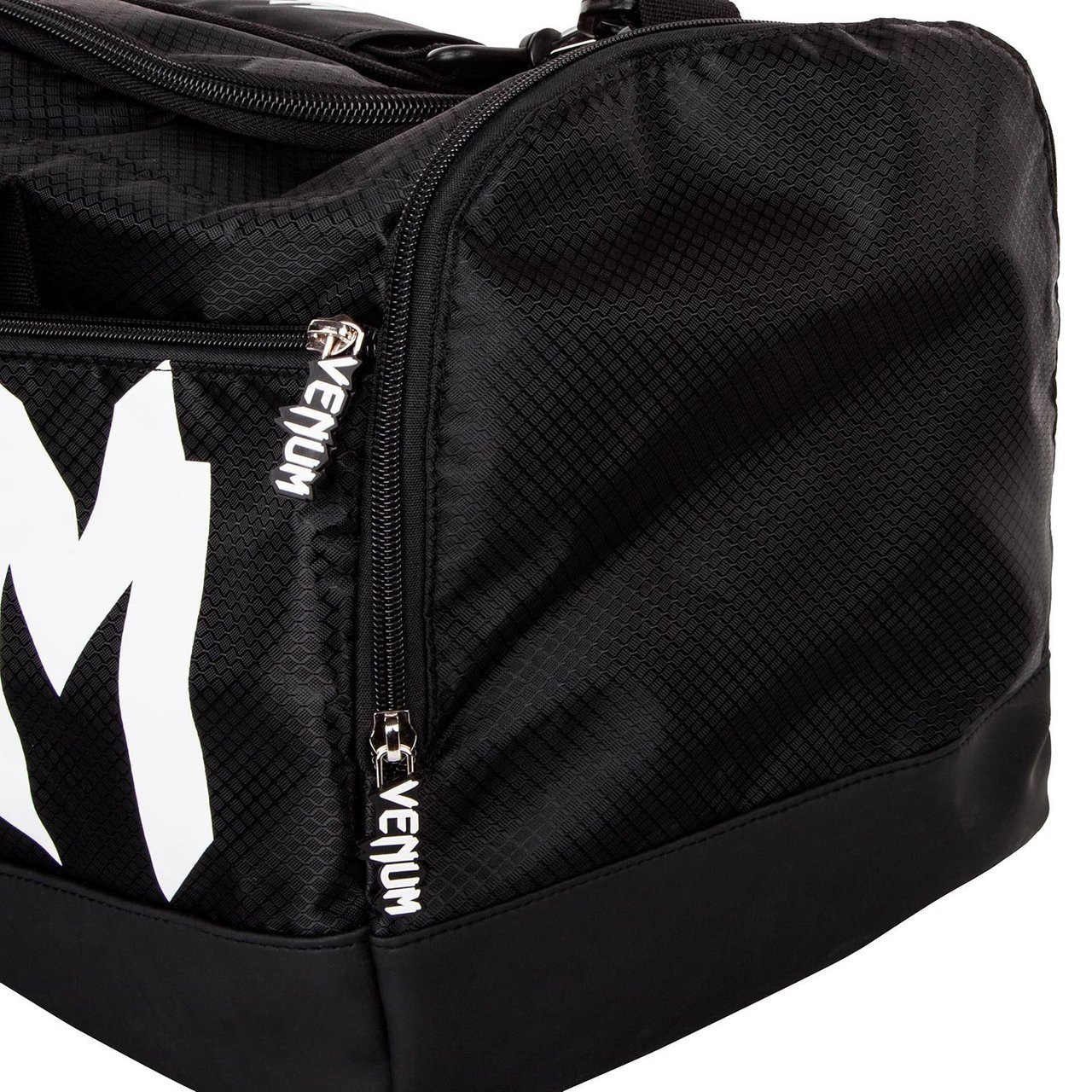 side pocket closed of the Venum Sparring Sports Bag  in Black on White available at www.thejiujitsushop.com  Enjoy Free Shipping from The Jiu Jitsu Shop
