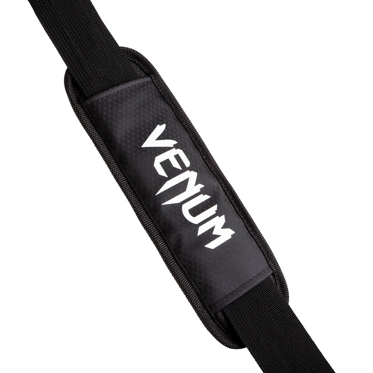 handle of the Venum Sparring Sports Bag  in Black on White available at www.thejiujitsushop.com  Enjoy Free Shipping from The Jiu Jitsu Shop