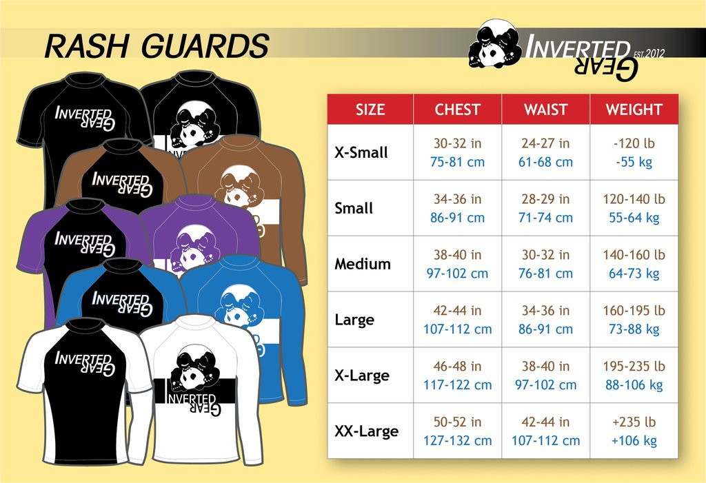 Inverted Gear Short Sleeve Ranked Rashguard Sizing Chart available at www.thejiujitsushop.com  Free Shipping from The Jiu Jitsu Shop today!