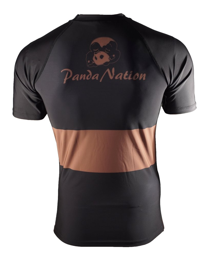Back of the Brown Inverted Gear Short Sleeve Ranked Rashguard available at www.thejiujitsushop.com  Free Shipping from The Jiu Jitsu Shop today!