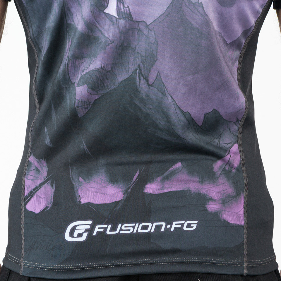 Back bottom of the Fusion FG Master of the Universe Skeletor Short Sleeve Rashguard.  Enjoy free Shipping from www.thejiujitsushop.com  Fast Free Shipping from The Jiu Jitsu Shop today!