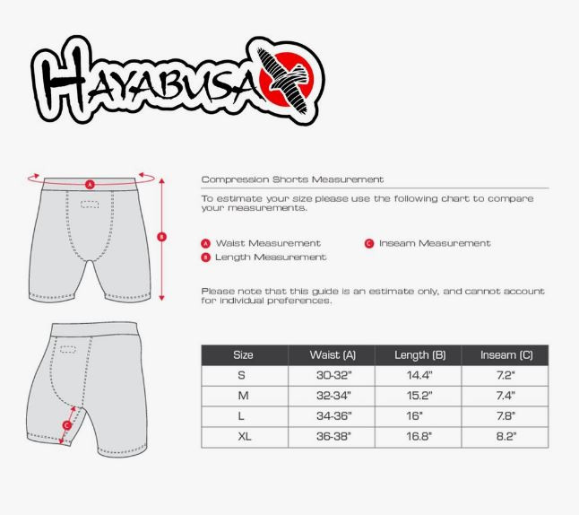 Sizing Chart of the Hayabusa Haburi Compression Shorts now available at www.thejiujitsushop.com  Enjoy free shipping from The Jiu Jitsu Shop today!