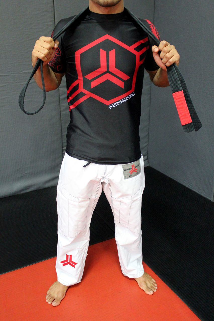 Open Guard Apparel Champion Gi, featured in white! Available at www.openguardapparel.com.  Enjoy premium BJJ gear for the family.