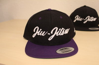 Open Guard Apparel All Black/Purple Jiu Jitsu Cursive Hat Snap back style.