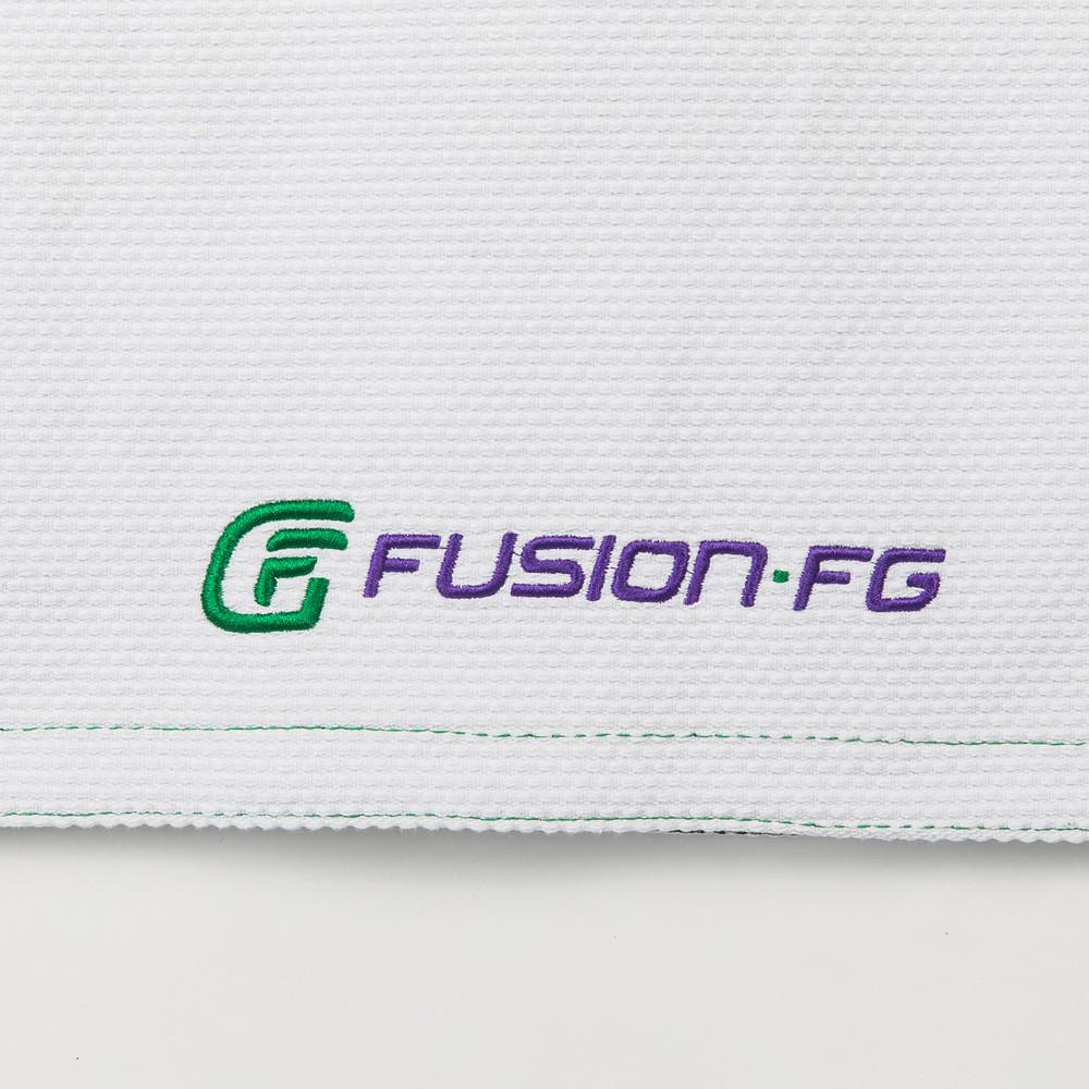 Fusion FG logo on the bottom of the jacket Fusion FG Batman Killing Joke Gi (White Joker Gi) now available at www.thejiujitsushop.com  Enjoy Free Shipping from The Jiu Jitsu Shop.
