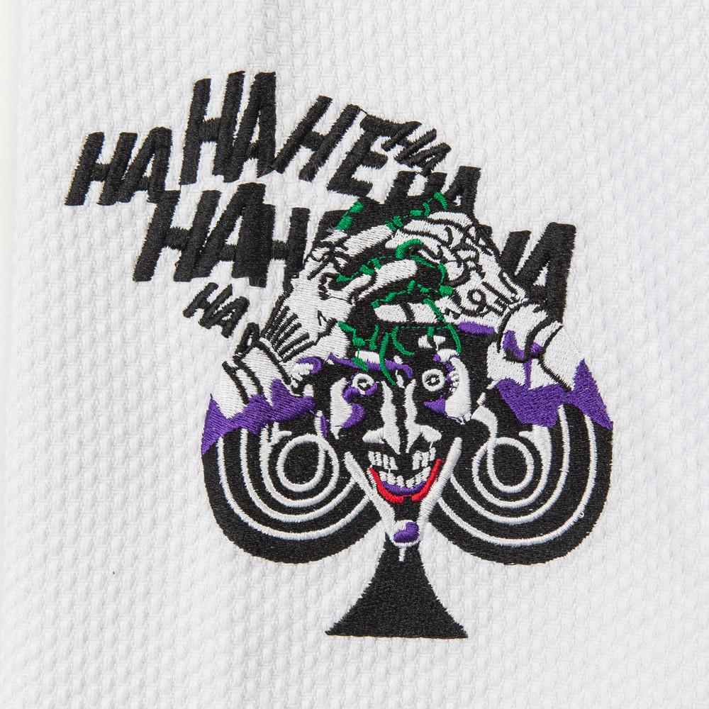 Joker laughing Fusion FG Batman Killing Joke Gi (White Joker Gi) now available at www.thejiujitsushop.com  Enjoy Free Shipping from The Jiu Jitsu Shop.