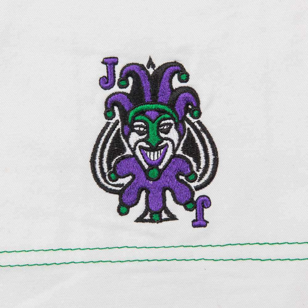 Embroidery Fusion FG Batman Killing Joke Gi (White Joker Gi) now available at www.thejiujitsushop.com  Enjoy Free Shipping from The Jiu Jitsu Shop.