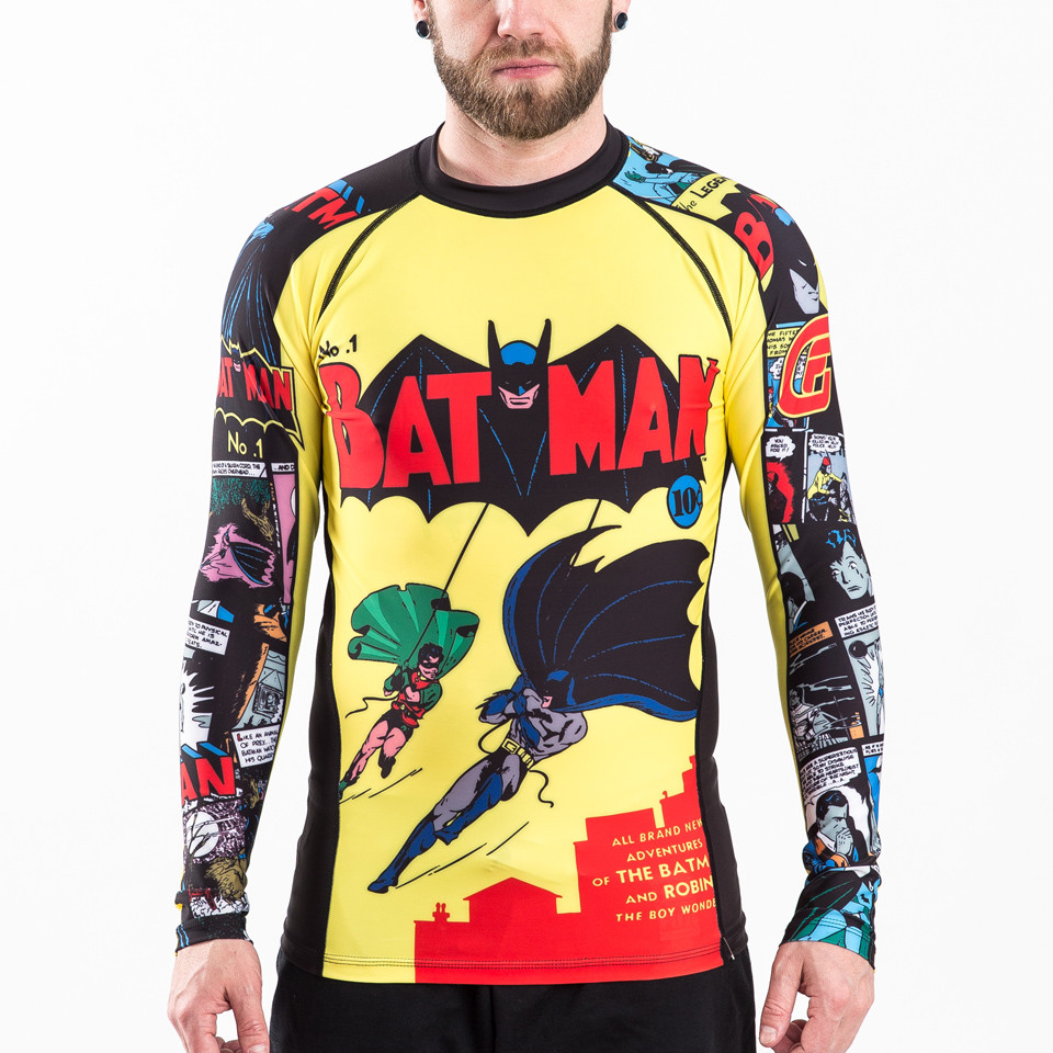 front only of the Fusion FG Batman Number 1 Comic Rashguard Compression  Shirt available at www.thejiujitsushop.com  Enjoy Free Shipping from The Jiu Jitsu Shop today!