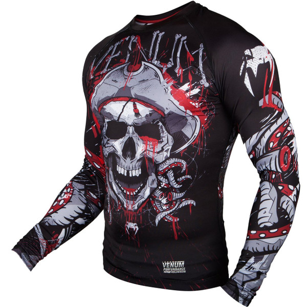 Venum pirate 3.0 rashguard black/red Longsleeve available at www.thejiujitsushop.com  Enjoy Free shipping from The Jiu Jitsu Shop today!