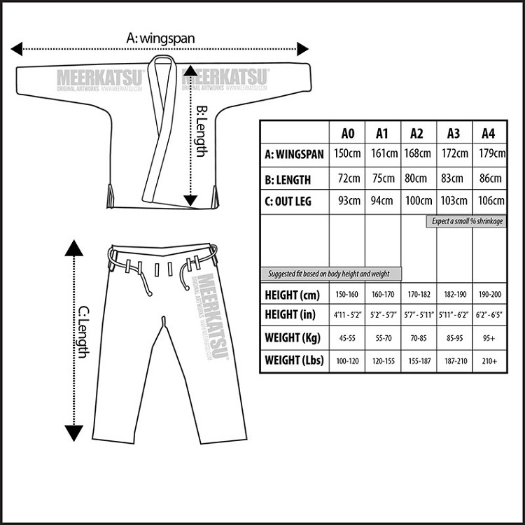 Jiu Jitsu Sizes Sizing Chart The Jiu