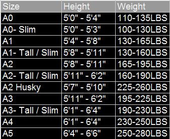Inverted Gear Navy Blue Bamboo Jiu Jitsu Gi Sizing Chart @ www.thejiujitsushop.com