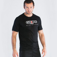 Grips Athletics Baseline Tshirt Black @ www.thejiujitsushop.com.  Light tshirts with quick dry technology from our friends at Grips Athletics