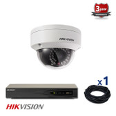 1 INDOOR/OUTDOOR IP HIKVISION DOME CAMERA CCTV KIT, 4 MEGAPIXELS, POE, IR NIGHT VISION UP TO 30 METERS, 1CKH2142