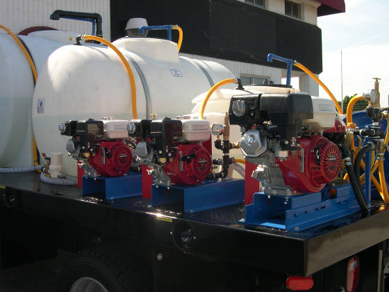 Component Mount Spray Truck with 3 tanks, 3 pumps/motors, 3 reels