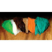 "Dyed Over White Strung Saddle Hackle 5-7"" - Ounce Packages"