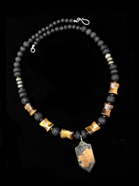 ST MICHAEL LAVA/PYRITE/TIGER EYE  PROTECTION NECKLACE