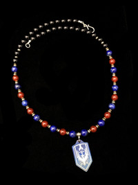 ST MICHAEL LAPIS/CARNELIAN/ONYX/PYRITE TI  PROTECTION NECKLACE