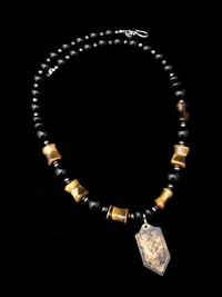 ST MICHAEL ONYX /PYRITE/TIGER EYE  PROTECTION NECKLACE