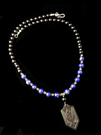 ST MICHAEL LAPIS/BLACK ONYX/PYRITE/ BLK OUT TITANIUM PROTECTION NECKLACE