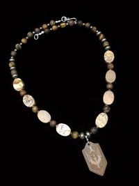 ST MICHAEL BLACK PICTURE JASPER/PYRITE/TIGER EYE/BRONZE TITANIUM PENDANT PROTECTION NECKLACE