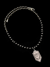 ST MICHAEL BLACK ONYX/PYRITE/BLACKOUT CERAKOTED TITANIUM PENDANT  PROTECTION NECKLACE