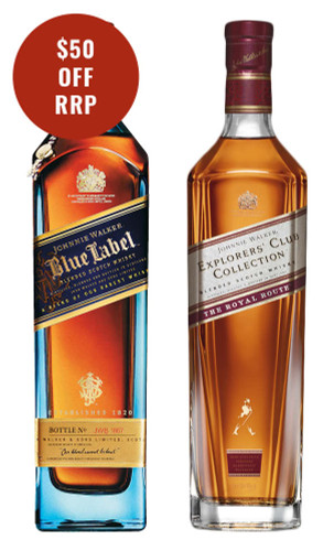 Johnnie Walker Blue Label & Royal Route Scotch Whisky Pack 2x750ml