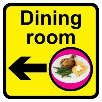 Dining Room Sign With Left Arrow Dementia Friendly 30cm