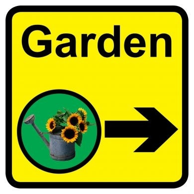 Garden Sign With Right Arrow Dementia Friendly 30cm X