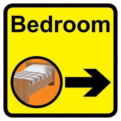 Bedroom Sign With Right Arrow Dementia Friendly 30cm X