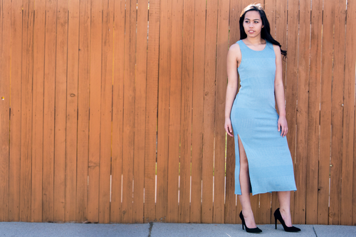 Sleeveless Dusty Blue Maxi Dress