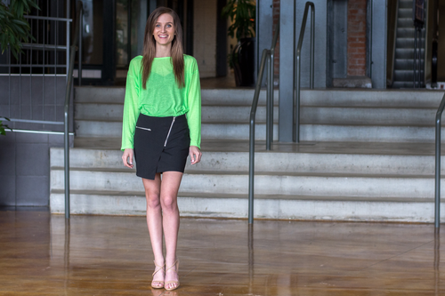 Offset Zipper Skirt (paired with our Neon Green Asymmetrical Top)
