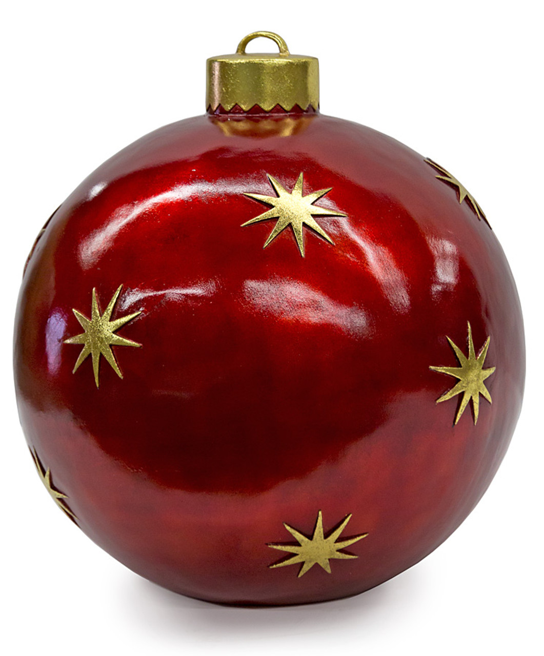 "24"" Ball Ornament Decor - Red with Gold