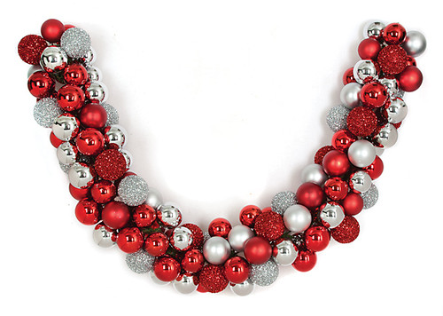 6 Foot Ball Garland Red/Silver