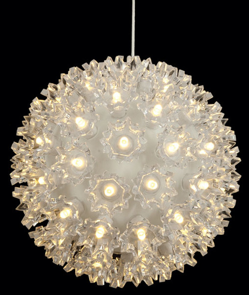 6 Inch Hanging White Lighted Sphere