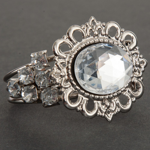 2 Inch Jeweled Oval Napkin Ring - Silver